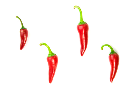 poignant: Four ripe red Chilli peppers on over white