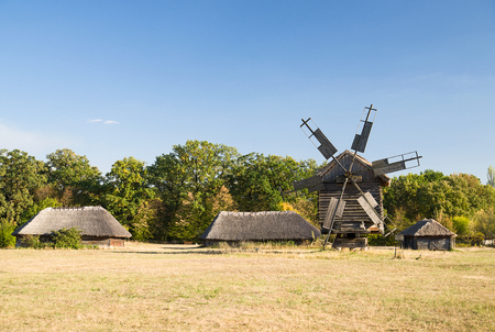 outbuilding: The windmill in the village in Sunny weather in autumn