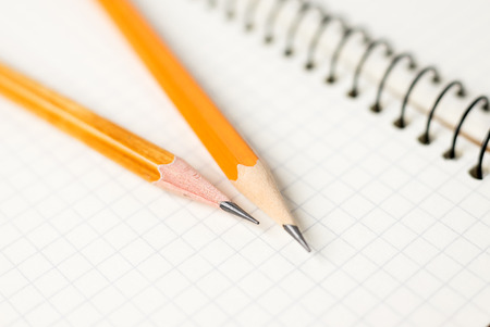 Pencils on the pages of an open notebook