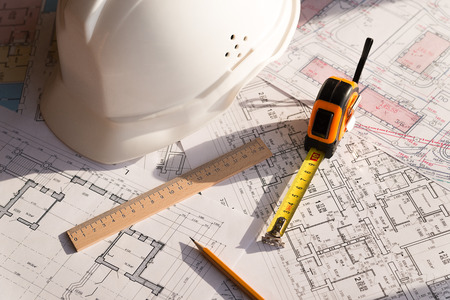 In the construction drawing are pencil, helmet and roulette