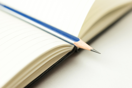 registro: Opened notebook with a blank sheet and pencil on over white