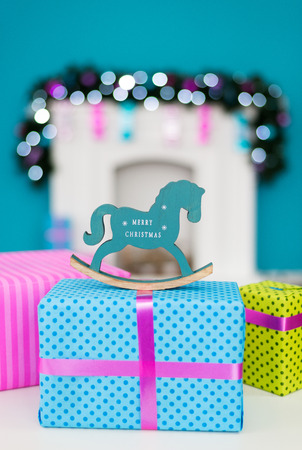 New years horse is on box Christmas gift