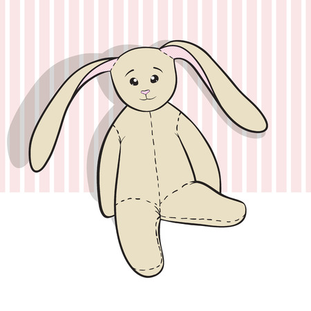 coney: Hand-drawing rag bunny isolated on white and pink