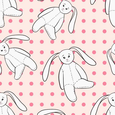 boyish: Hand drawing bunnies toys childish pink seamless pattern