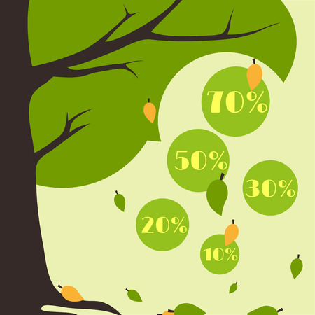 Season sale infographics in the form of falling leaves from a tree Vector
