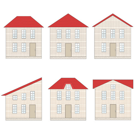 schematically: Six houses with red roof, windows, door and foundation