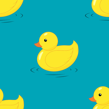 ducky: Yellow rubber duck seamless pattern. Hand drawing. Flat design