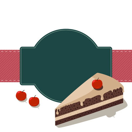 vanilla pudding: Chocolate biscuit background with cherry Illustration