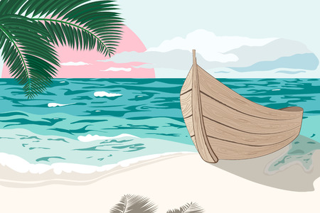 rowboat: Summertime dawn.The wooden boat is standing on the beach with a sea shore