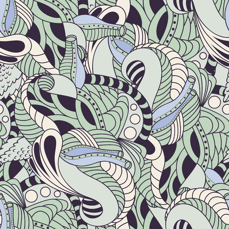 Hand drawn floral seamless pattern. Soft colors zentangle background Vector