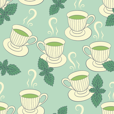 Green tea seamless pattern with hand drawing cups and mint Vector