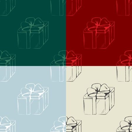 Set of gift boxes seamless pattern. Christmas backgrounds Vector