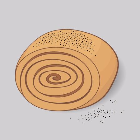 sweet bun: Illustration of sweet bun with poppy seeds
