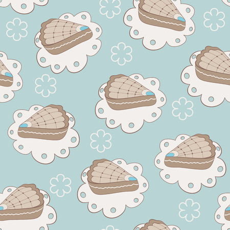 portion: Hand drawn portion of cakes seamless pattern. Blue background Illustration