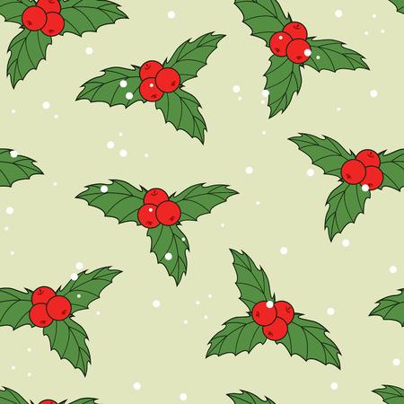 ilex: Christmas seamless pattern with hand drawn ilex