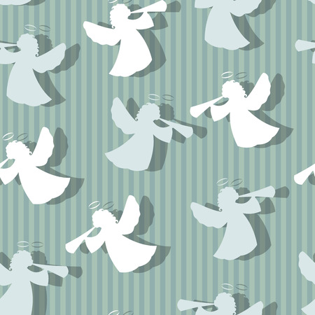 Christmas angels silhouette seamless pattern. Striped background Ilustração
