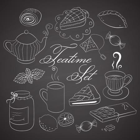 confiture: Handdrawn teatime set. Tea and cofee mugs with sweets on black chalkboard. Illustration