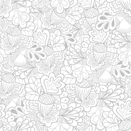 Outline oak elements seamless pattern. Black and white background Çizim