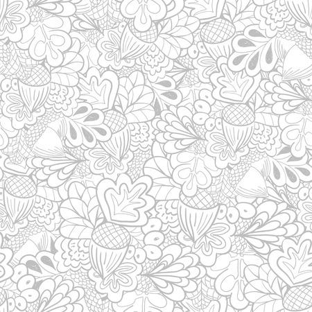 Outline oak elements seamless pattern. Black and white background Illustration