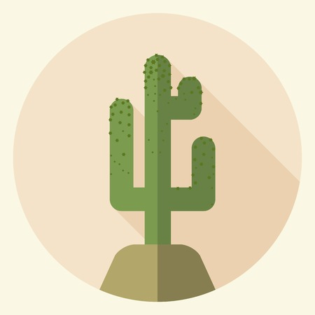long shadow: Saguaro icon with long shadow. Flat design Illustration