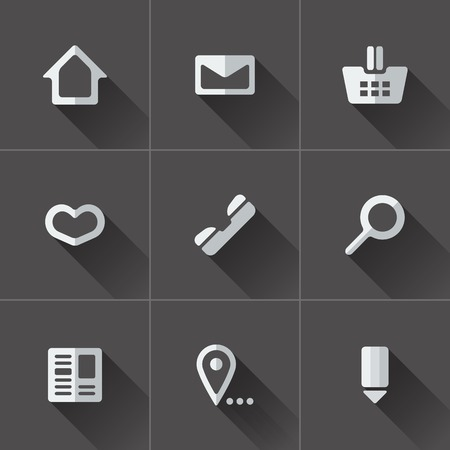 Set of website menu icons. Flat design in black and white Vector