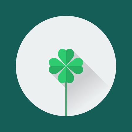 shamrock background: Clover icon. St. Patricks Day flat design Illustration