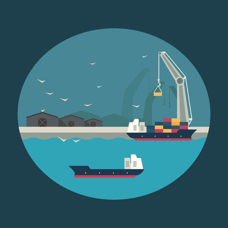 wharf: Infographic illustration. Cargo ship with working crane loading containers on board. Flat design Illustration