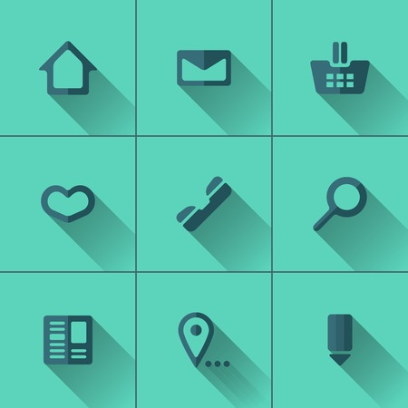 Set of blue icons for website menu. Flat design. Turquoise background Vector