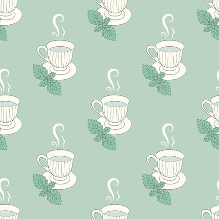 herbal background: Tea mugs with mint seamless patern. Green herbal background