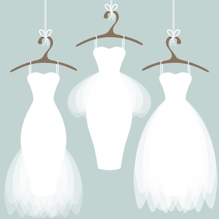 Wedding dresses on hangers. Pastel background Illusztráció
