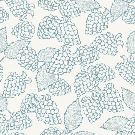 blackberries: Doodle outline blackberries seamless pattern. Pastel background