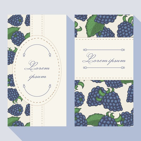 dewberry: Business card set with blackberryes with doodle frames. Greeting card template