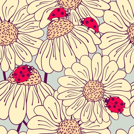 Ladybug and daisy seamless pattern. Bright background