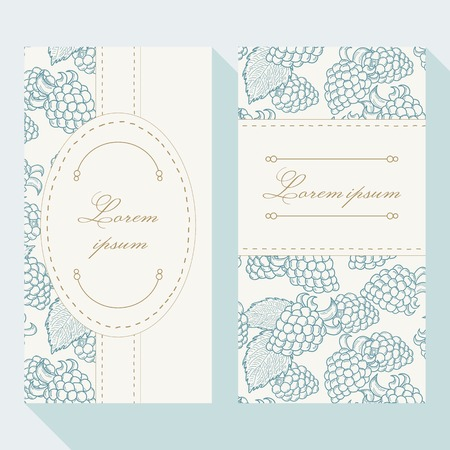dewberry: Business card set with outline blackberries. Greeting card template
