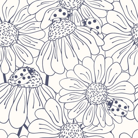 ladybug on leaf: Ladybug and daisy outline seamless pattern. Doodle background