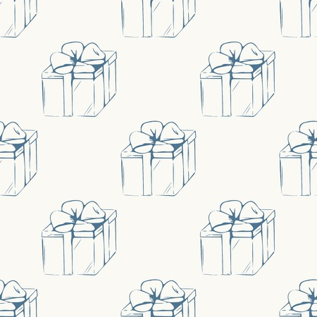 Gift boxes outline seamless pattern. Event background Vector