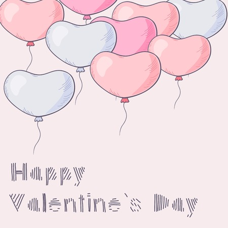 A lot of hand drawn heart balloons flying. Event template for your text Vector
