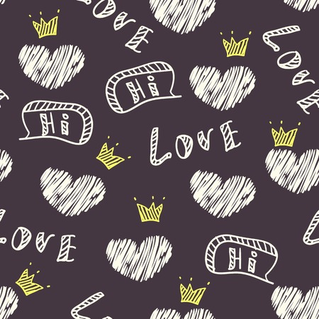 hello heart: Dark doodle love seamless pattern with hearts, crown and speech bubble