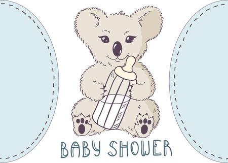 teat: Koala with bottle of milk. Baby shower template
