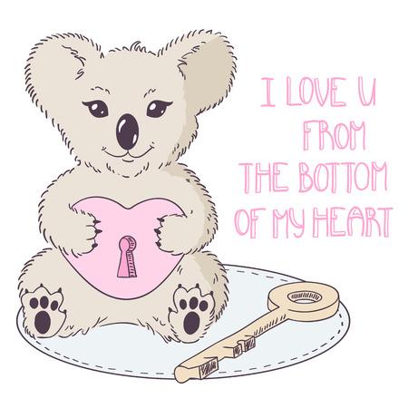 shape cub: Koala with heart and key. Valentines day illustration