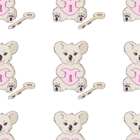 Koala with heart and key. Valentines day seamless pattern Vector