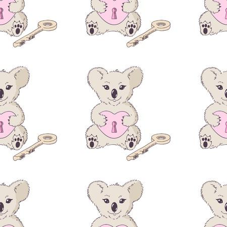 shape cub: Koala with heart and key. Valentines day seamless pattern Illustration