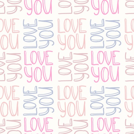 repeated: Doodle inscription LOVE YOU seamless pattern