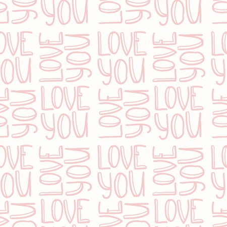 Pink doodle inscription LOVE YOU seamless pattern Vector