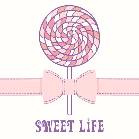 Pink lollipop with ribbon Vector