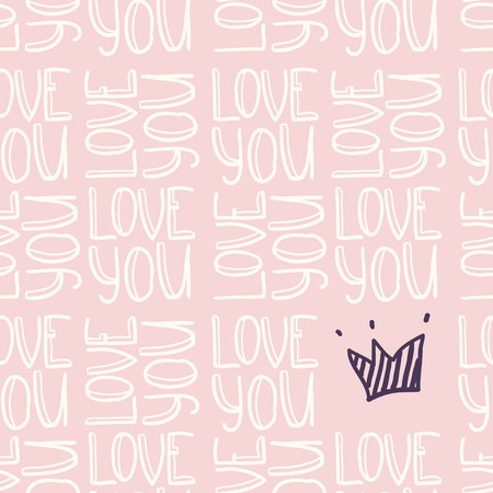 Doodle inscription LOVE YOU with crown seamless pattern