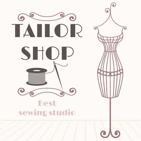 Vintage iron mannequin. Tailor shop background with sewing icon Illustration