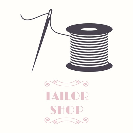 spool: Thread spool and needle icon. Tailor shop and needlework symbol