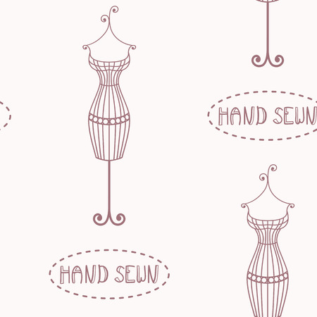 sewn: Vintage iron mannequin seamless pattern with inscription hand sewn. Wrapping paper template Illustration