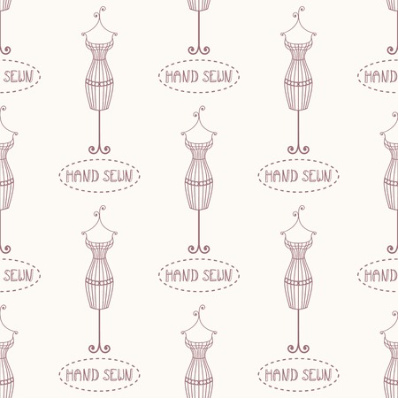 sewn: Small vintage iron mannequin seamless pattern with inscription hand sewn. Wrapping template Illustration